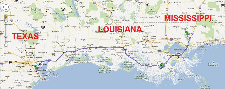 Texas And Louisiana Map  MAP